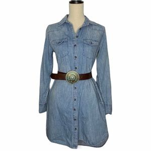 Merona Denim Boho Chic Button Up Dress Sz xs